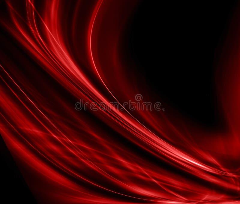 Pano vermelho abstrato do fundo ou ilustração líquida da onda de dobras onduladas do cetim da textura ou material ou vermelho de  ilustração do vetor