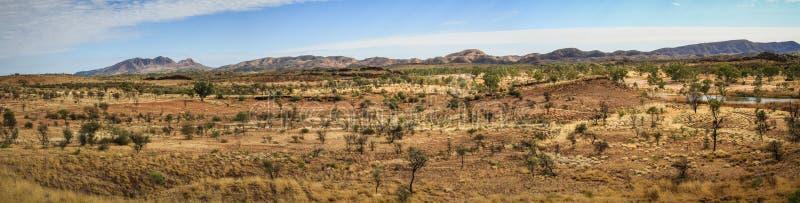 Panorámico del desierto en la gama del oeste de McDonnell con Mt Sonder en la parte posterior, Territorio del Norte, Australia imágenes de archivo libres de regalías