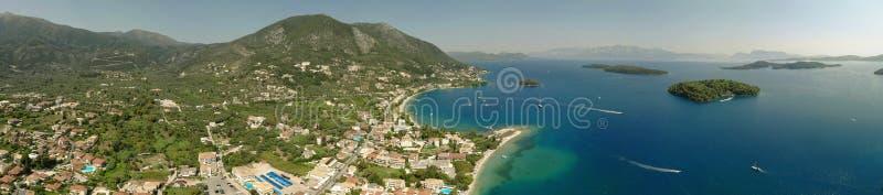 Panorâmico da baía de Nidri, ilha bonita de Lefkada Greece fotos de stock royalty free