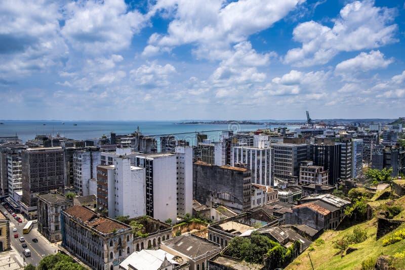 Panorâmico de Salvador faça Baía do elevador de Elevador Lacerda fotos de stock royalty free