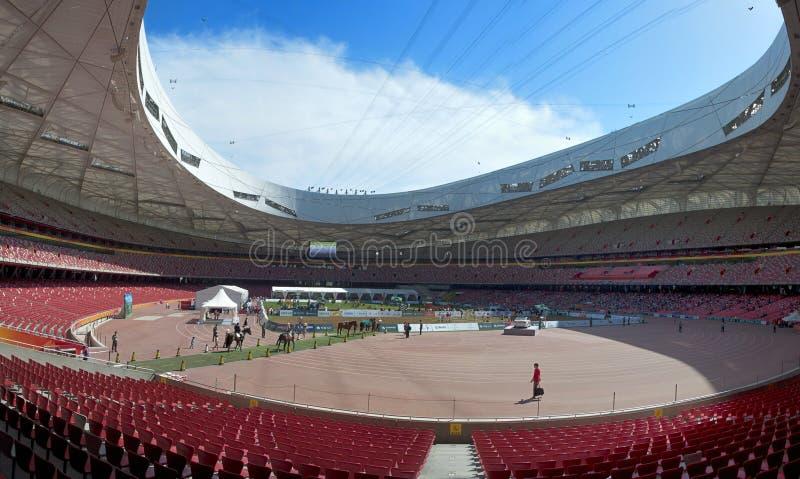 Panorâmico interno do estádio nacional de Beijing China imagens de stock