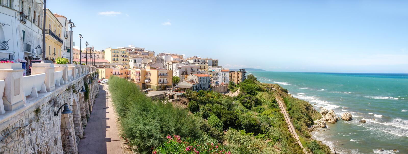 Panora méditerranéen de gargano de l'Italie d'apulia de garganico de rodi de Macchia Mediterranea de maquis photographie stock libre de droits