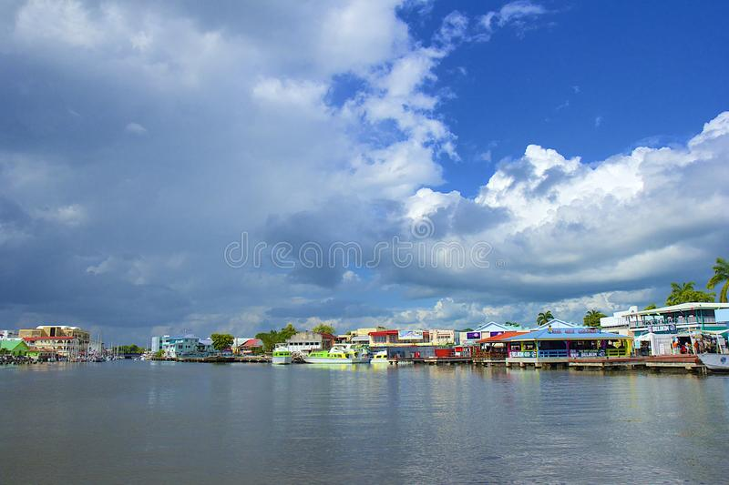 Panoram de port de ville de Belize photo libre de droits