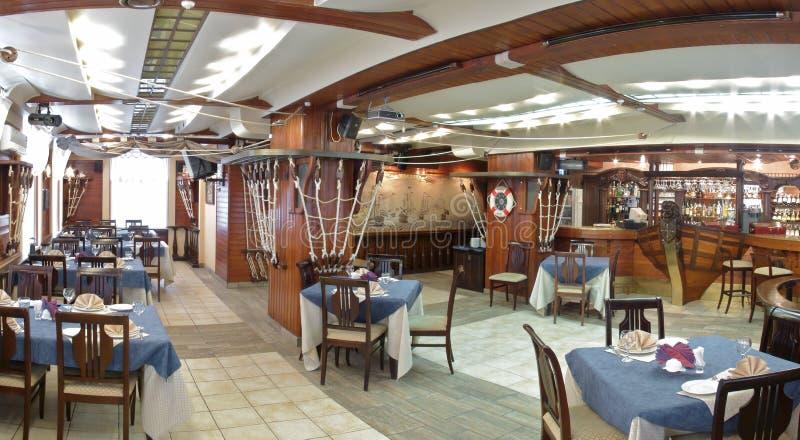 Panoram of the restaurant. stock photos