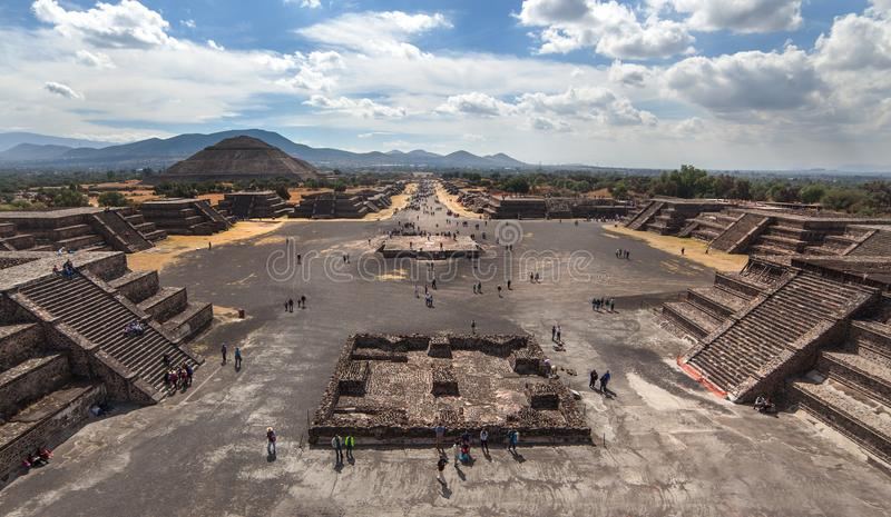 Panoram view on Teotihuacan and pyramid of the sun and Road of Dead stock photo