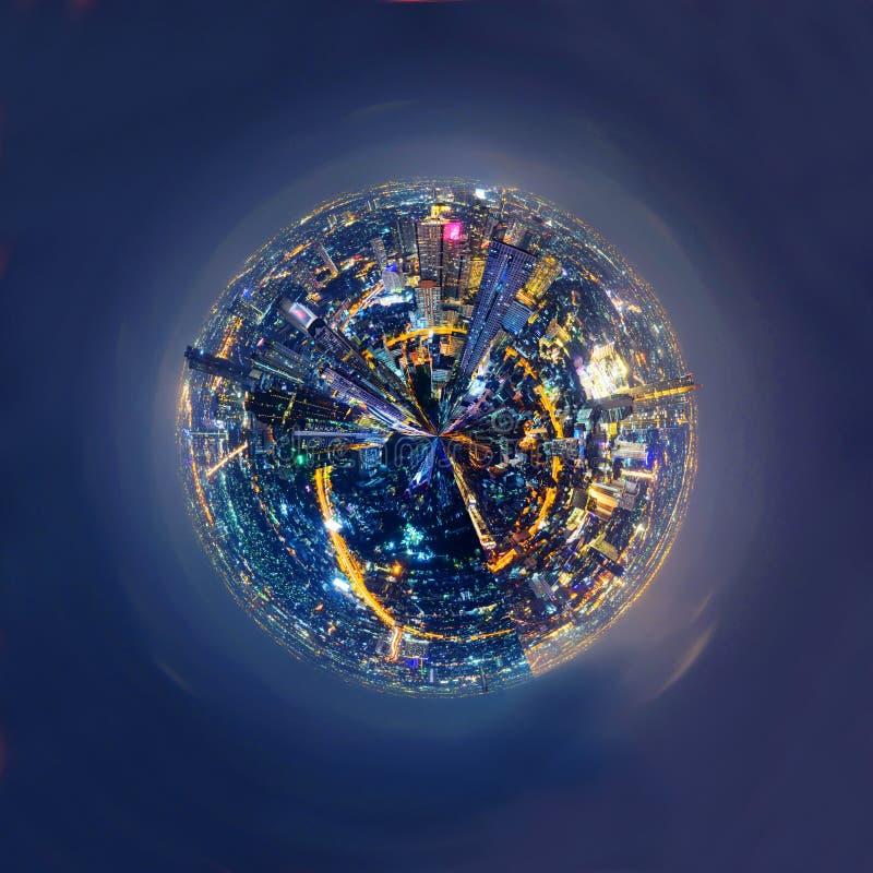 360 panoram Wysoki widok miasto w nighttime obraz royalty free