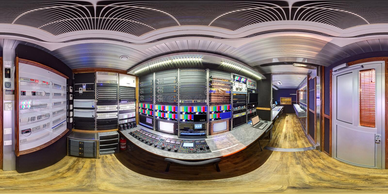 Panorama équidistant dans le fourgon de 360 ob photographie stock