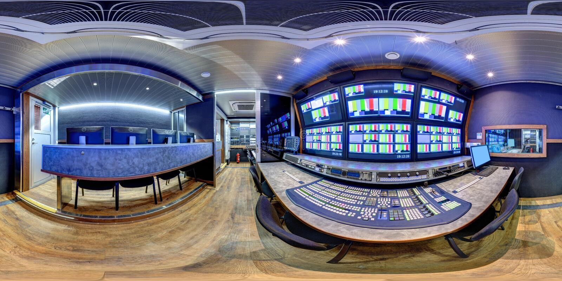 Panorama équidistant dans le fourgon de 360 ob image libre de droits