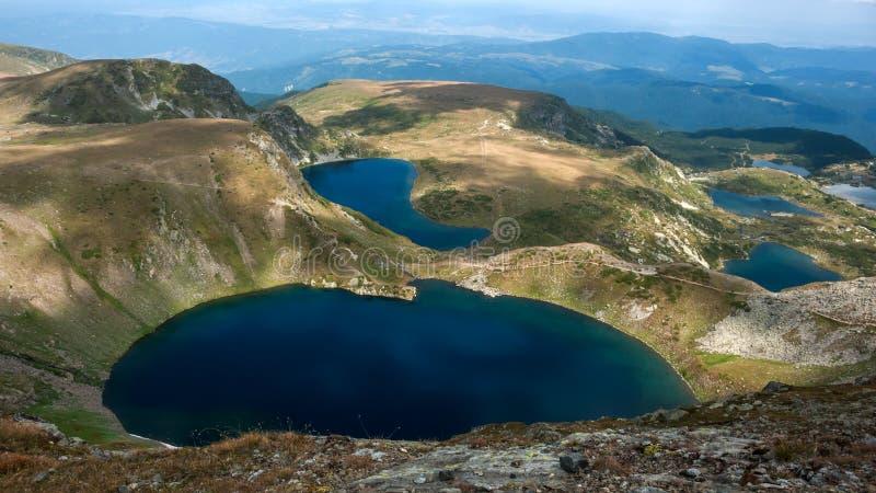 Panorama étonnant des sept lacs Rila photos libres de droits