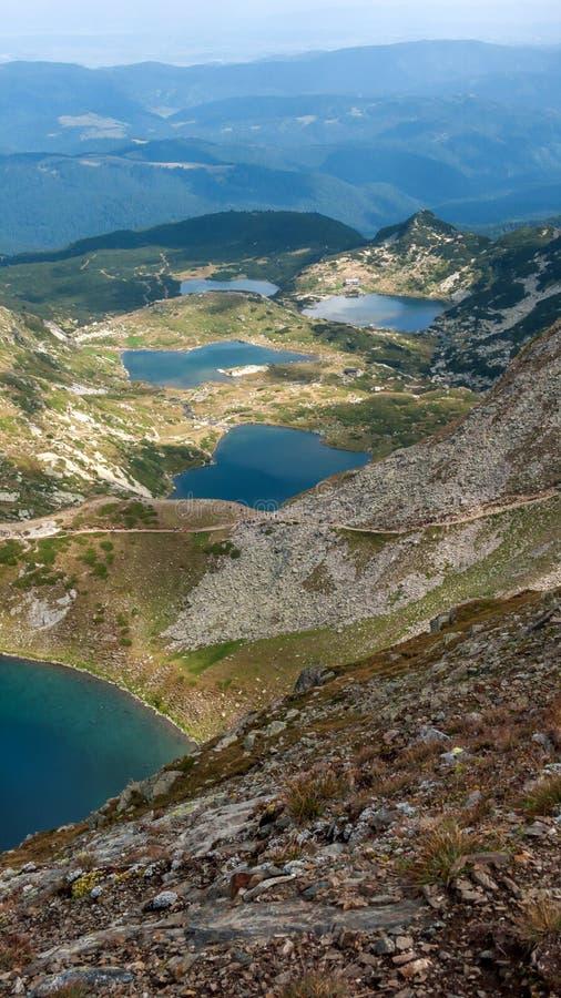 Panorama étonnant des sept lacs Rila images libres de droits