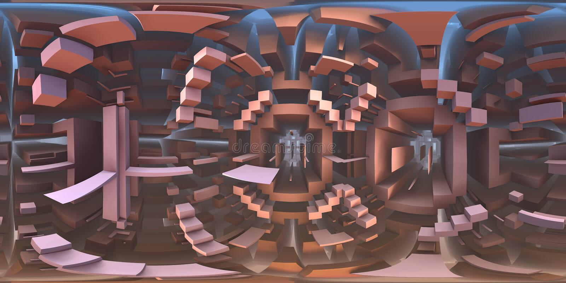 panorama étrange du monde de labyrinthe de 360 degrés, projection equirectangular, carte d'environnement Panorama sphérique de HD illustration de vecteur