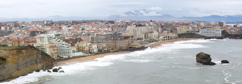 Panorama över staden av Biarritz, Frankrike arkivbild