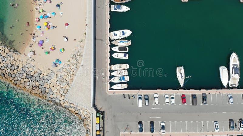 Panorama über dem Hafen von Girona, Spanien stockfotos