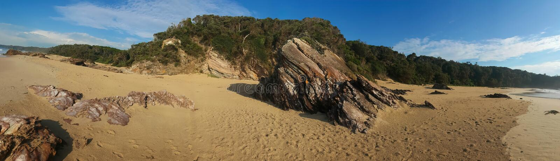 Panorama łup plaża fotografia stock