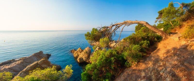 Panorama śródziemnomorska natura na pogodnym ranku w Hiszpania Denny natura krajobraz zdjęcia royalty free