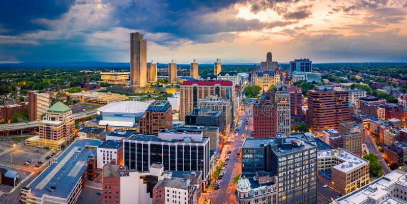 Panorama aéreo de Albany, Nueva York foto de archivo