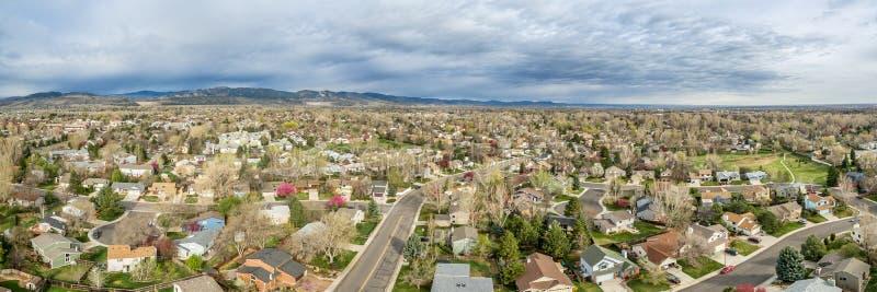 Panorama aéreo de Fort Collins fotos de archivo libres de regalías
