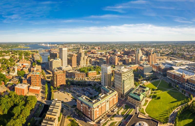 Panorama aéreo de la providencia, Rhode Island imagen de archivo
