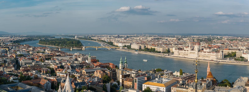 Panorama aéreo de Margaret Island, Budapest, Hungría fotografía de archivo libre de regalías