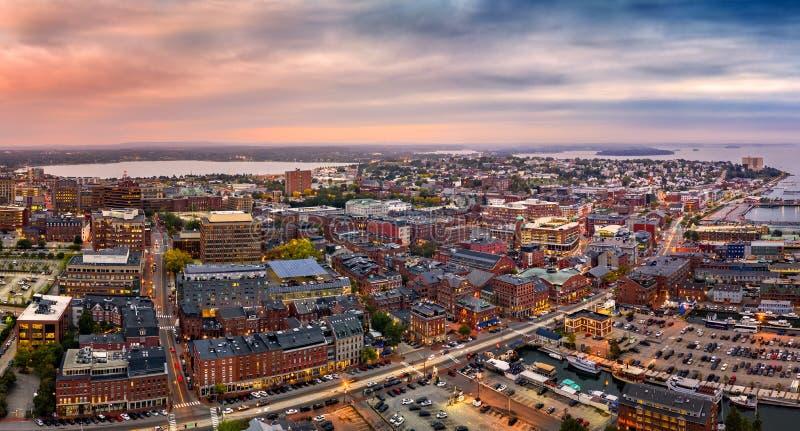 Panorama aéreo de Portland, MIM imagens de stock