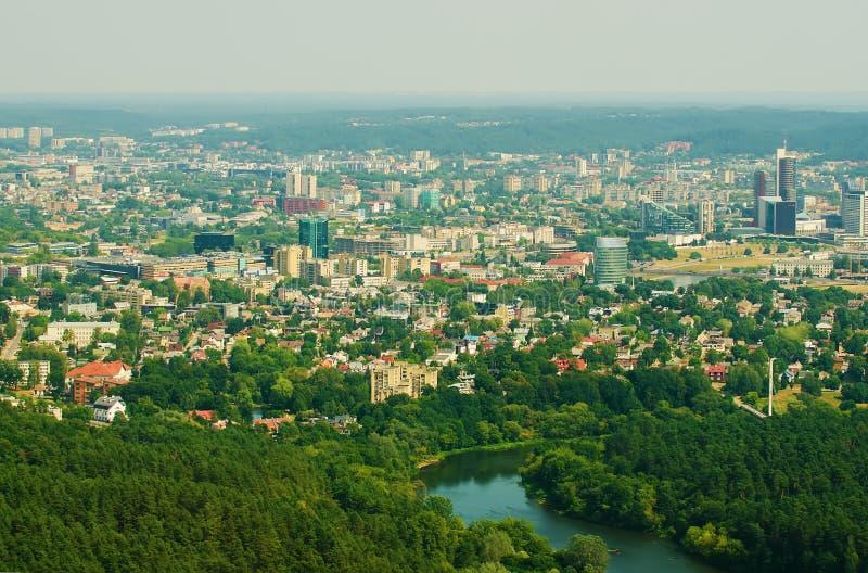 Panorama aéreo de Vilnius, Lituânia imagem de stock