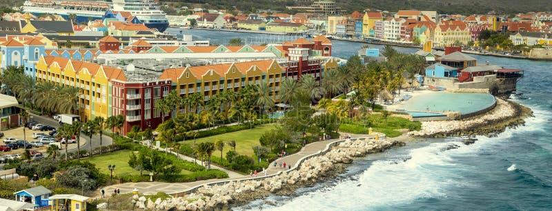 Panorama aéreo de Willemstad en Curaçao imagen de archivo libre de regalías
