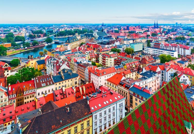 Panorama aéreo de Wroclaw, Polônia imagens de stock