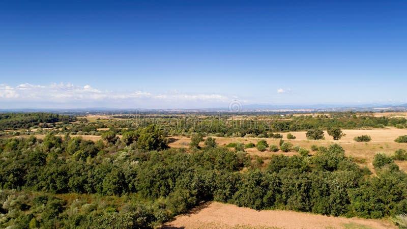 Panorama aéreo del campo español en Cataluña imagen de archivo