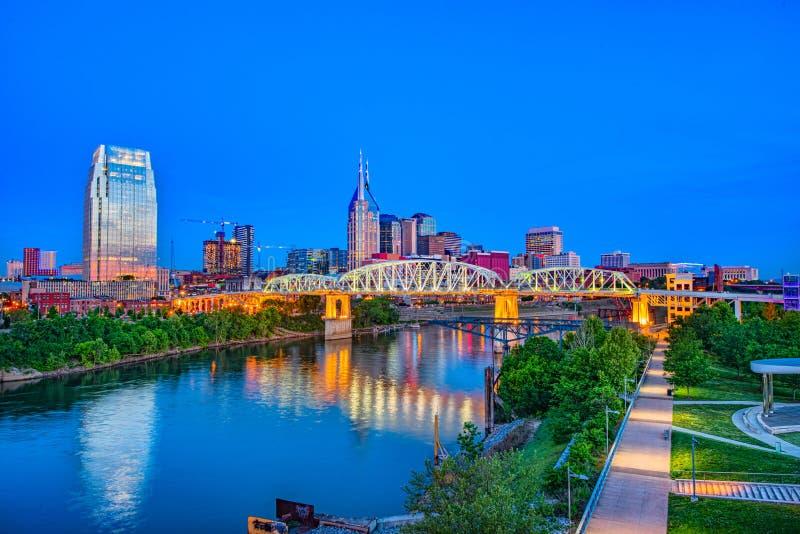 Panorama aéreo del horizonte del abejón de Nashville Tennessee TN fotografía de archivo libre de regalías