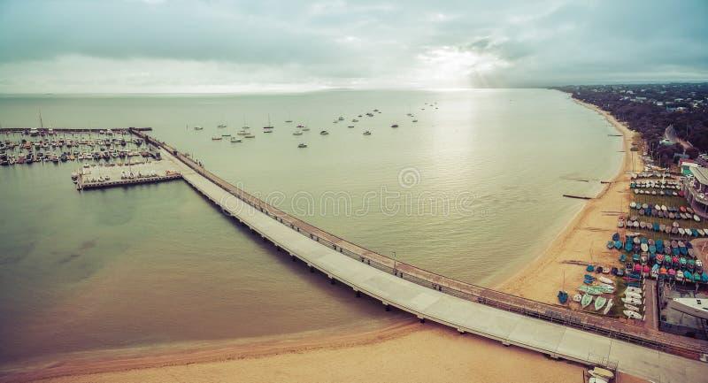Panorama aéreo do porto de Blairgowrie na península de Mornington dentro foto de stock royalty free