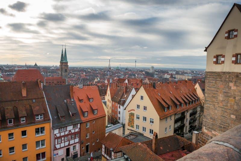 Panorama aéreo en Nuremberg imagen de archivo