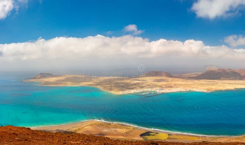 Panorama aérien d'île de Graciosa de La Les ?les Canaries photographie stock