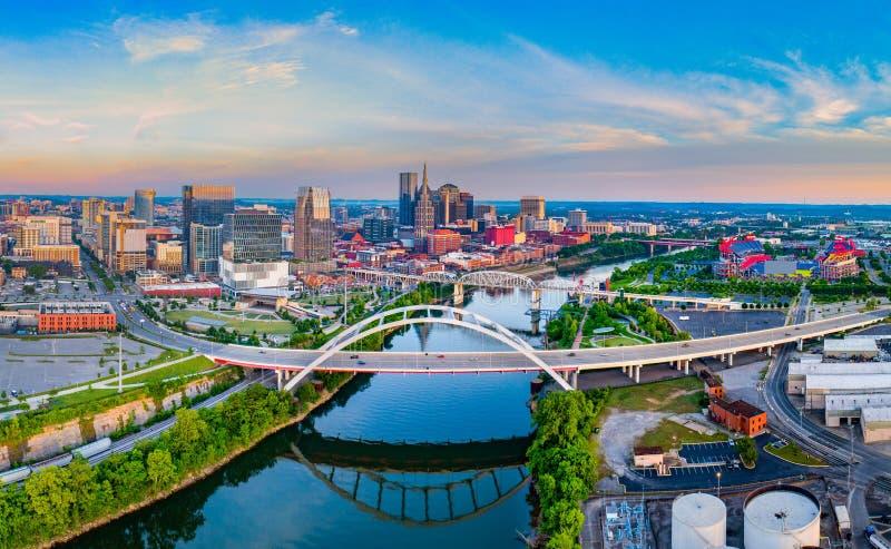 Panorama aérien d'horizon de bourdon de Nashville Tennessee TN images stock