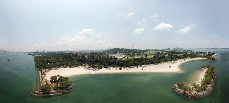 Panorama aérien de plage de Tanjong, à l'île Singapour de Sentosa photos libres de droits