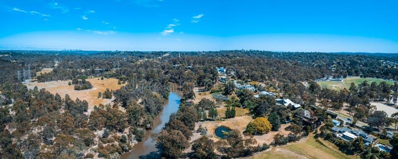 Panorama aérien de rivière de Yarra photographie stock