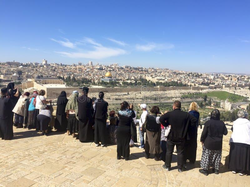 Panorama aan Jeruzalem van Olijfberg stock afbeelding