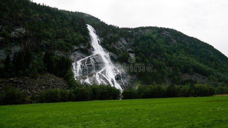 Panorama aan Vidfossen-waterval bij gronsdalslonarivier, Odda, Noorwegen stock fotografie