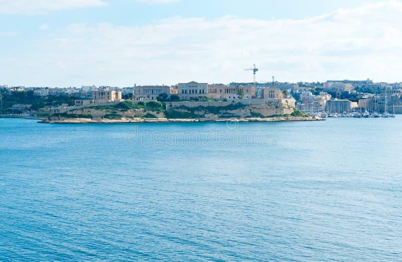 Panorama aan Villa Bighi stock foto's