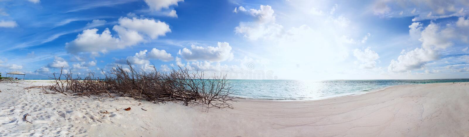 Panorama of Abandoned Beach at Maldives island Fulhadhoo with white sandy beach and sea. Panorama Wild Beach at Maldives island Fulhadhoo with white sandy beach royalty free stock photo