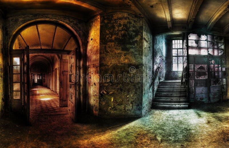 Panorama abbandonato di corridoio immagini stock