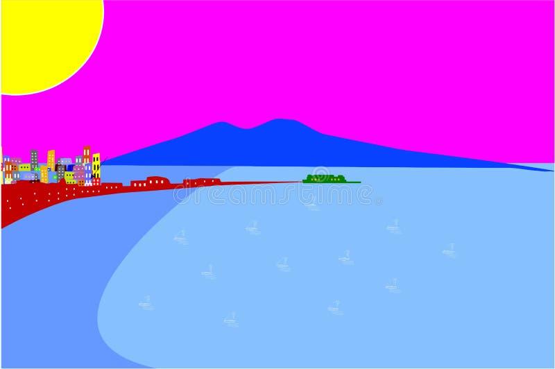 Panorama abstracto del golfo de Nápoles, con Vesuvio ilustración del vector