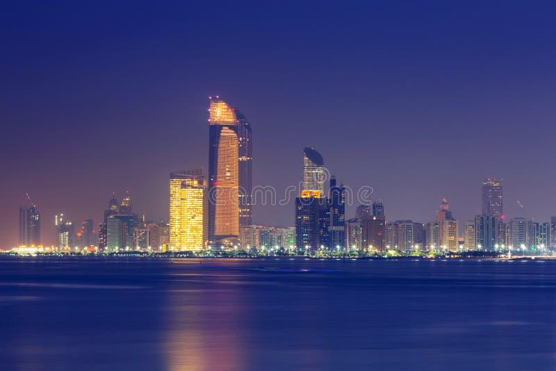 Panorama of Abu Dhabi at night, UAE royalty free stock image