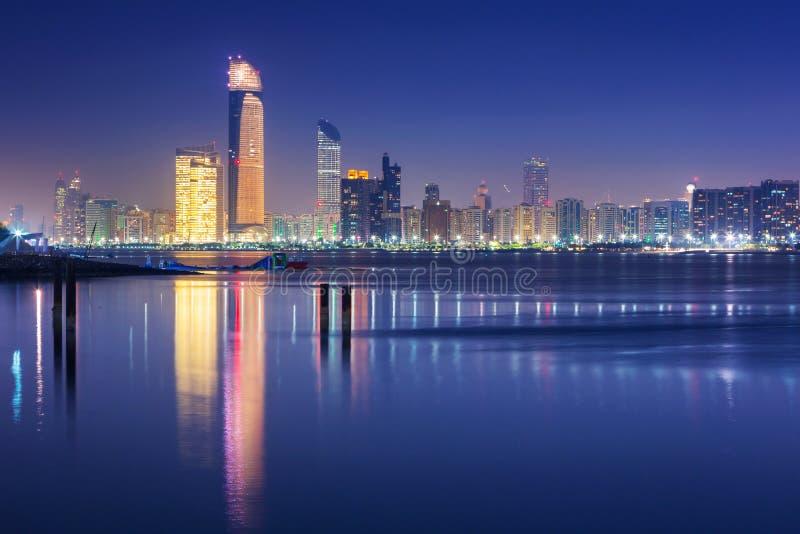 Panorama of Abu Dhabi at night, UAE royalty free stock photos