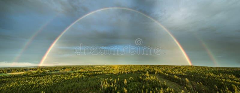 Panorama ad alto dettaglio di drone del doppio arcobaleno sulla foresta estiva di pini, cieli molto chiari e colori chiari dell'a immagine stock libera da diritti