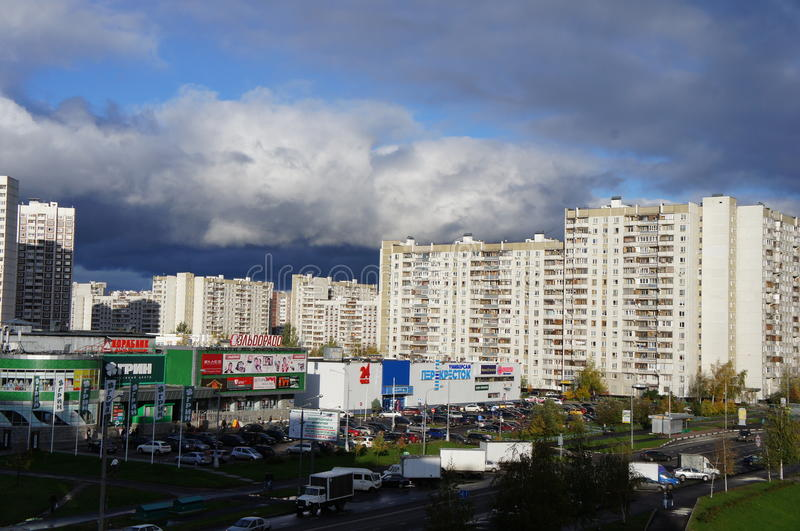 Panorama in administrative district of Moscow - town Zelenograd with height of bird`s flight royalty free stock photo