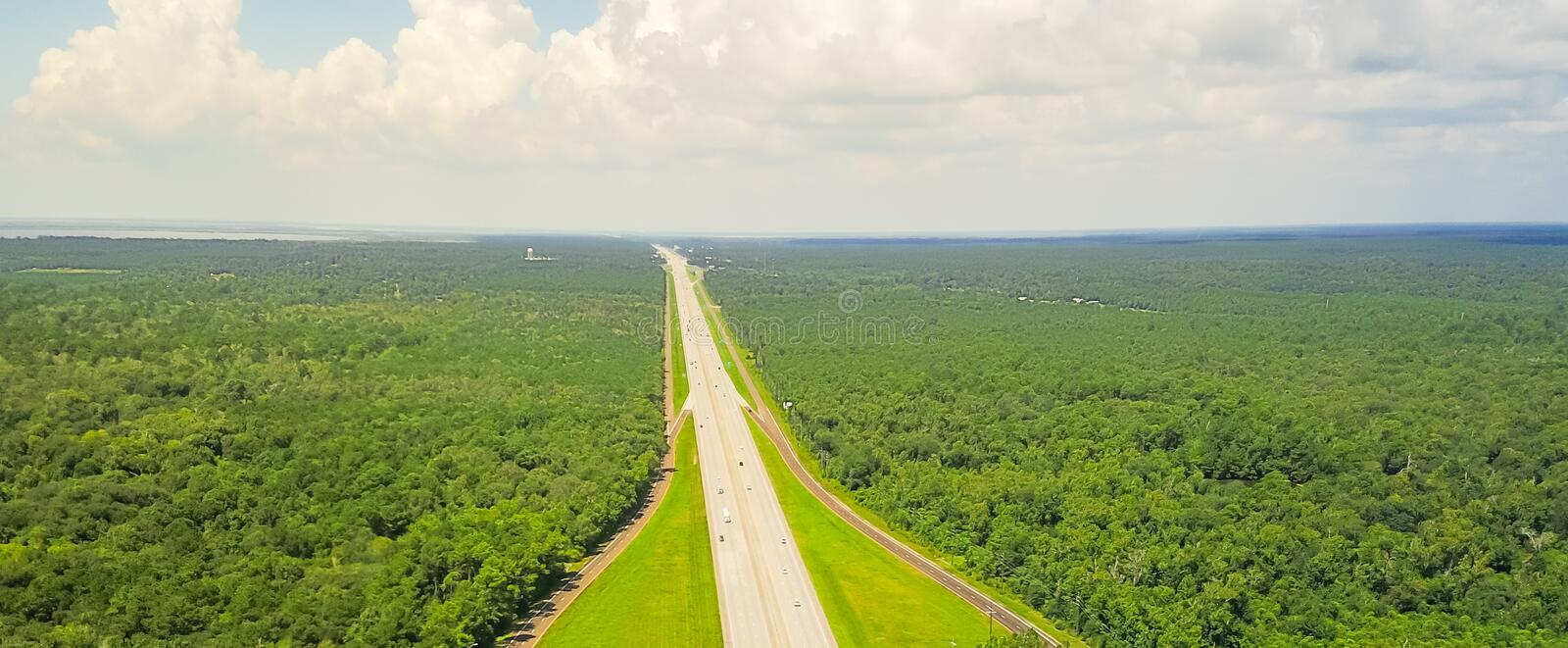 Panorama aerial horizontal view of I-10 highway from Texas to Lo royalty free stock photography