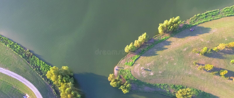 Panoramic top view lakeside city green park in suburban area Houston, Texas, USA stock photos