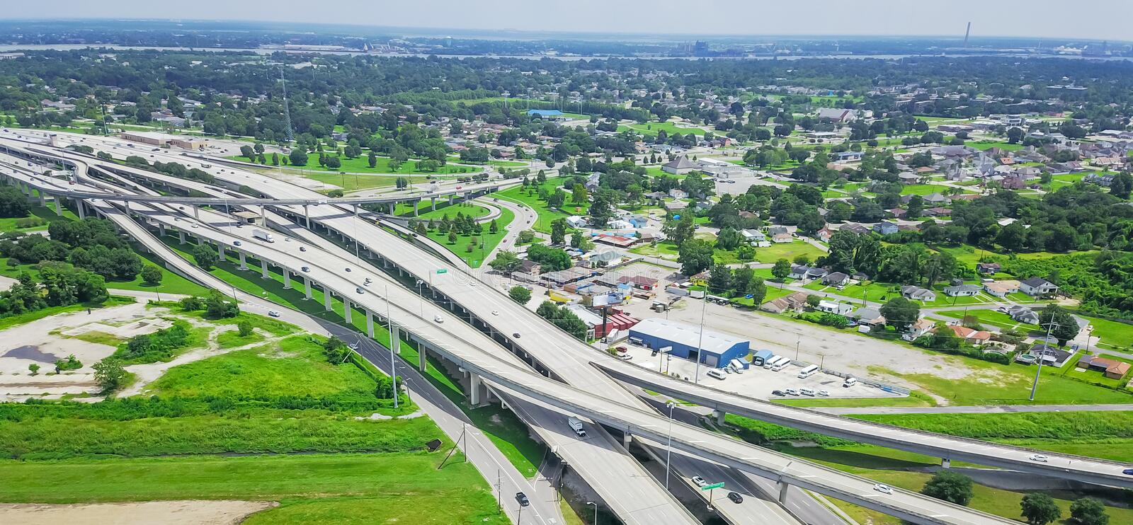 Panoramic top view elevated highway 90 and Westbank expressway i royalty free stock images