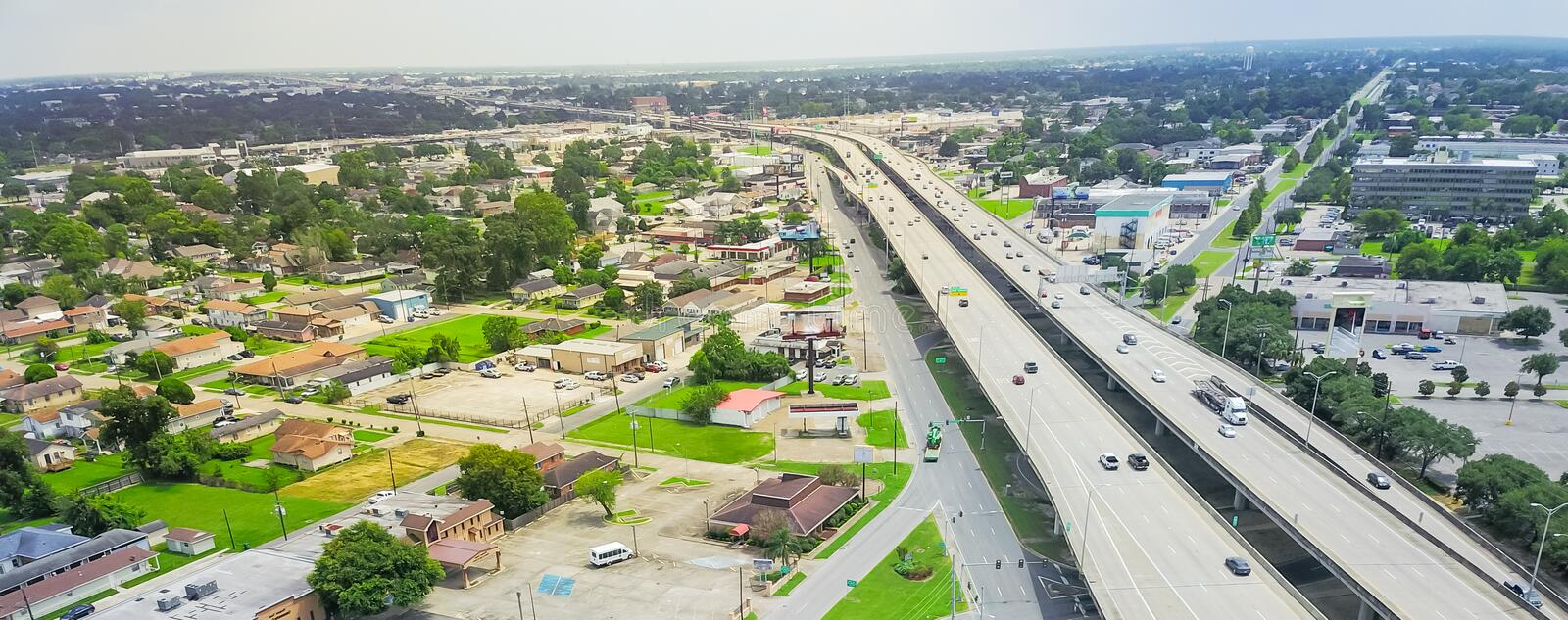 Panoramic top view elevated highway 90 and Westbank expressway i royalty free stock image