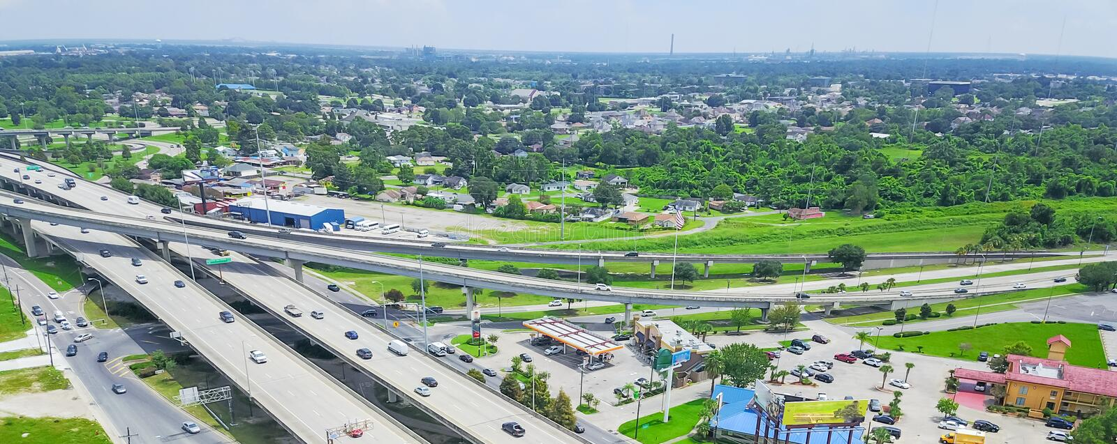 Panoramic top view elevated highway 90 and Westbank expressway i royalty free stock photography